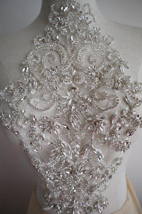 Sparkle Sequined Beaded Flower Trim Neckline Collar Wedding Sewing Applique