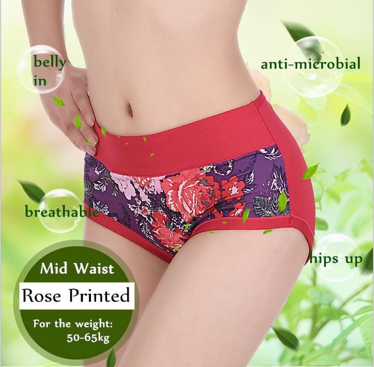 Women Bamboo Fiber Boyshorts Floral Printed Mid Waist Panties Briefs