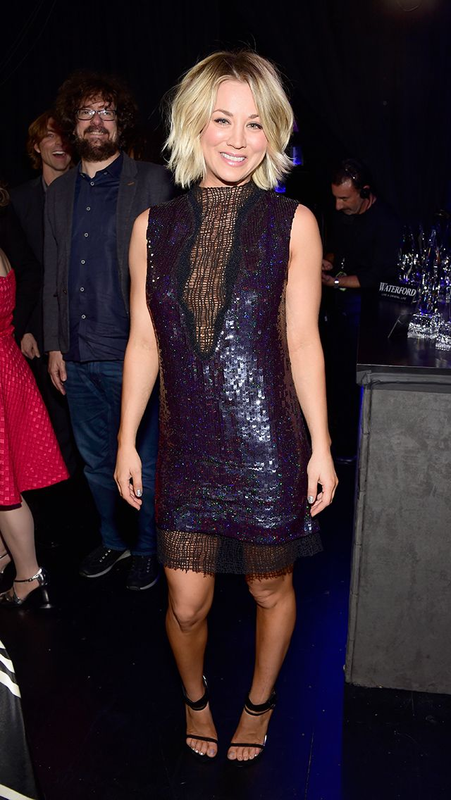 KALEY CUOCO making a big bang in her sexy sequin Manning Cartell mini featuring a see-through neckline and accessorized with strappy Stuart Weitzman sandals (a switch from her red-carpet sneaks!) and textured waves. Getty Updated: Thursday Jan 07, 2016 | 6:22 PM EST Copyright © 2016 Time Inc. All rights reserved. Reproduction in whole or in part without permission is prohibited.