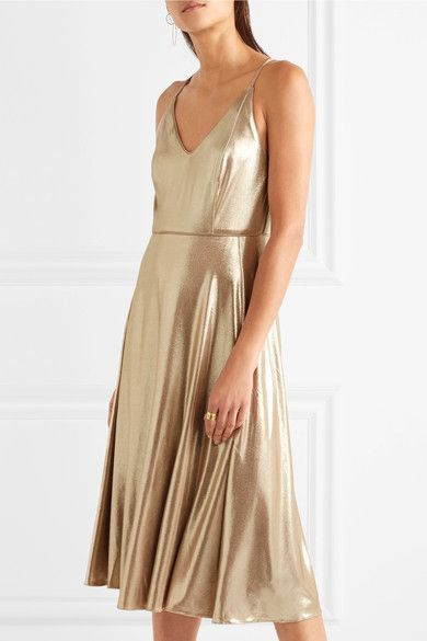Halston Heritage - Metallic Stretch-jersey Midi Dress - Gold