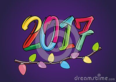 Happy new year 2017 - cartoon number design with lights colorful lamps