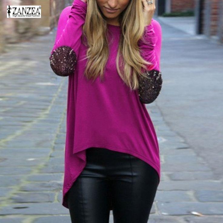 Women Loose Long Sleeve Blouses Shirts Glitter Patchwork Casual Blouse Pullover Plus Size Tops Blusas Femininas alishoppbrasil
