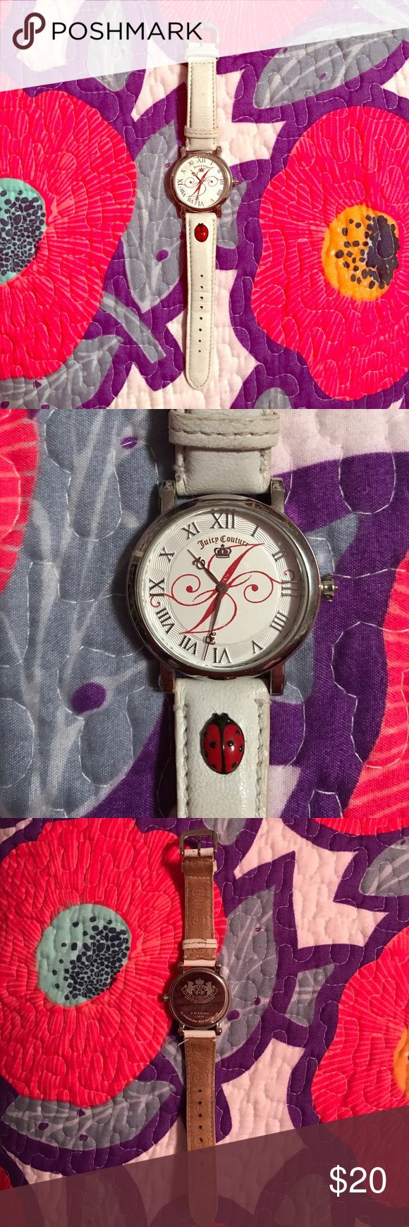 Juicy Couture Watch, Stainless Steel Juicy Couture stainless steel watch with white and red accents and a cute lady bug! Stainless steel & water resistant 3 ATM. Super cute for spring! Originally bought for $50 from Nordstrom Rack, selling for $20. Comes from a smoke-free home :) Juicy Couture Accessories Watches