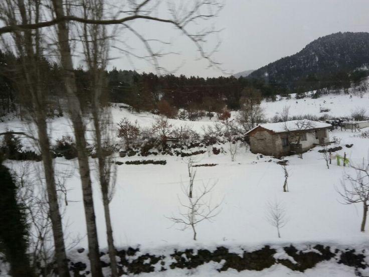 Sındırgı yolundan kar manzarası
