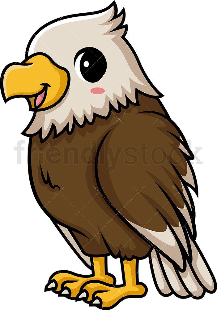 Chibi Kawaii Bald Eagle Clipart Cartoon Vector Friendlystock Eagle Cartoon Cute Easy Paintings Eagle Painting