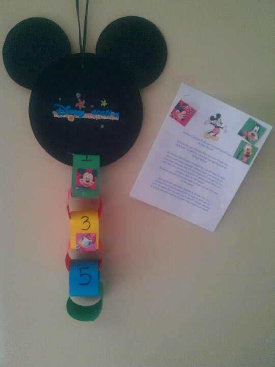 Disney Countdown Chain with a letter from Mickey Mouse telling the lil ones that Tinkerbell was watching over them to make sure their good. I would leave a lil bit of glitter in diffrent spots if the house. Their faces when they saw the glitter Priceless