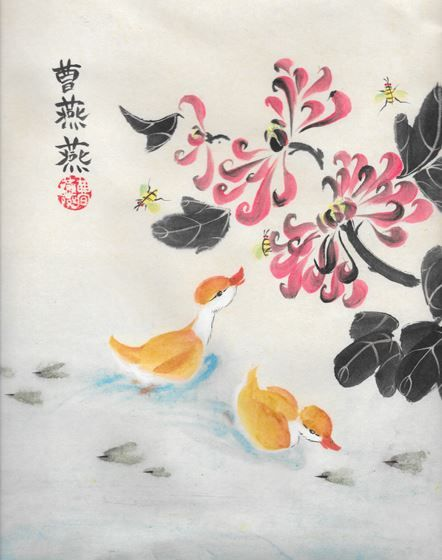 """""""Petals off Port"""" limited edition print shows aquatic composition with ducks and a lucky red chrysanthemum by Tracie Griffith Tso"""