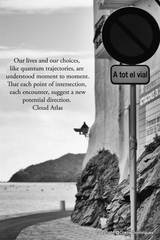 Cloud Atlas Quote -  Our Lives and Our Choices 5x7 Black and White Fine Art Photography Cadaques Spain, street signs, turns, choices, via Etsy