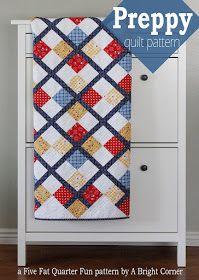 A Bright Corner: Five Fat Quarter Fun - Preppy Quilt Pattern