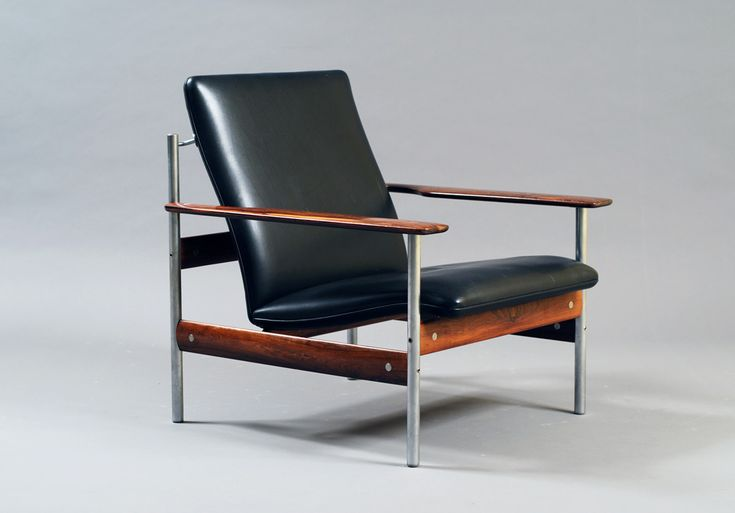 """""""Modell 1001 AF"""" by Sven Ivar Dysthe, palisander and ox-hide leather with chrome steel, Norway ca 1960, first edition with thin seat"""