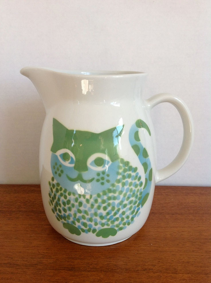 LOVE! Vintage Arabia Finland Kaj Franck Large Cat Pitcher. $149.95, via Etsy.