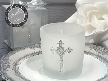 Blessed Events Cross design candle holder - The prefect favor for your Childs Blessed Event. A Cassiani Collection exclusive these frosted glass votive candle holders are accented with a stylish cross design in silver glitter and come with a white votive candle. http://www.favorfavorbaby.com/p-DC970.htm