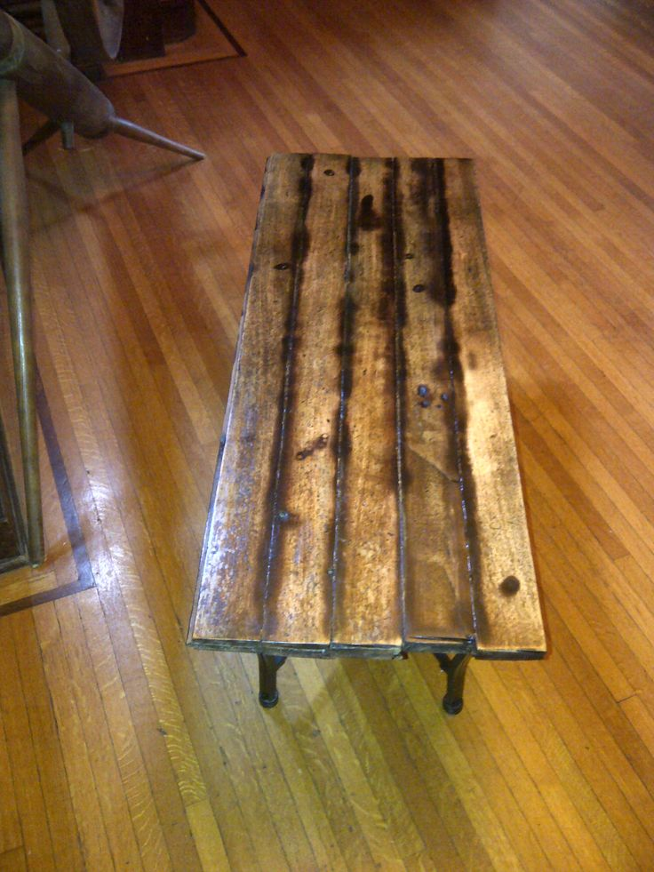 Another shot of the reclaimed floor board table I made.