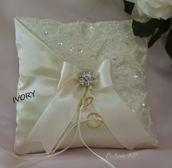Wedding ring bearer pillow, Champagne, Ivory or White ring bearer pillow, Lace…