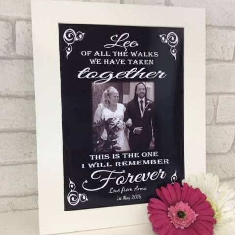"Dad, of all the walks we have taken Treat Dad to this stunning personalised gift, the text ""Dad"" can be changed to any name & add your photo, date & name to complete this beautiful gift. Personalised mounts & frames"