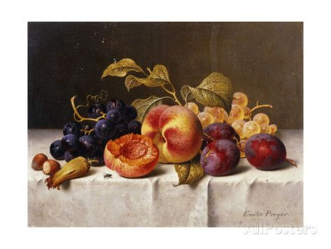 Grapes, Peaches, Plums and Nuts on a Draped Table Stampe di Emilie Preyer su AllPosters.it