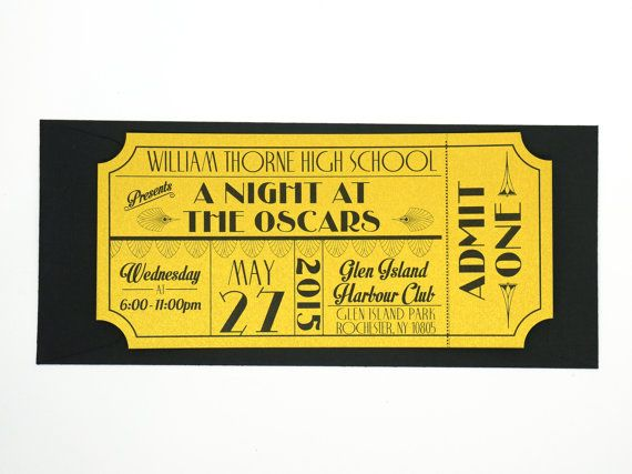 Old Hollywood Art Deco Red Carpet Gold Movie Ticket