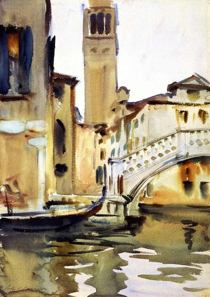 The Athenaeum - Bridge and Campanile, Venice (John Singer Sargent - circa 1902-1904)