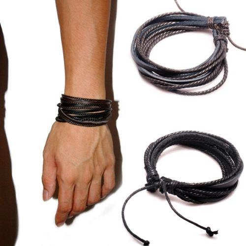 Women's men's Synthetic Leather Braided Rope Adjustable Multilayer y Bracelet  4TWE