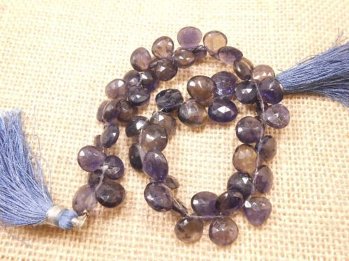Beautiful-Natural-Iolite-Heart-Briolette-Faceted-Beads-shape-56-Pcs-8-034-strand