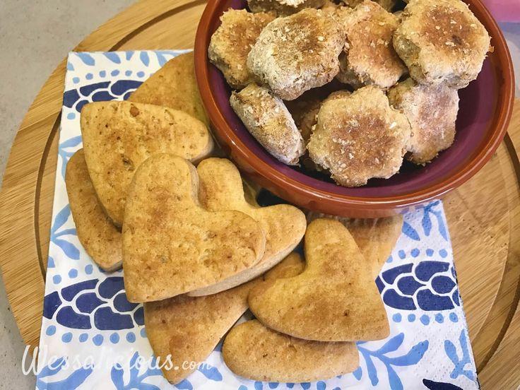 Eenvoudig recept voor twee verschillende Zelfgemaakte hondenkoekjes. Eentje met pindakaas en ei en de andere met banaan. Leuk zelf hondenkoekjes bakken!