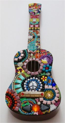 Mosaic Ukulele Small Guitar Music Beads Wall Art Room Decor Peace Sign 70s Gift | eBay