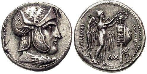Coin of Seleucus I Nicator (c. 358 BC – 281 BC), one of Alexander's successors. Looks like Elvis Presley
