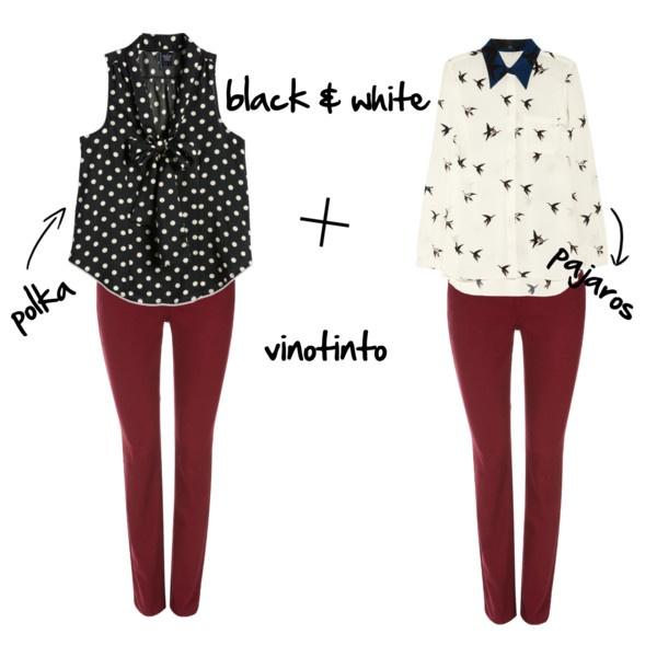 """""""look black n white + vinotinto"""" by titimorales"""
