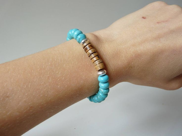 Turquoise Howlite and wood bracelet, Hematite power bracelets, unisex bracelets, men's bracelets,  Boho jewelry, Unisex  Wooden jewelry by nkcraftstudio on Etsy