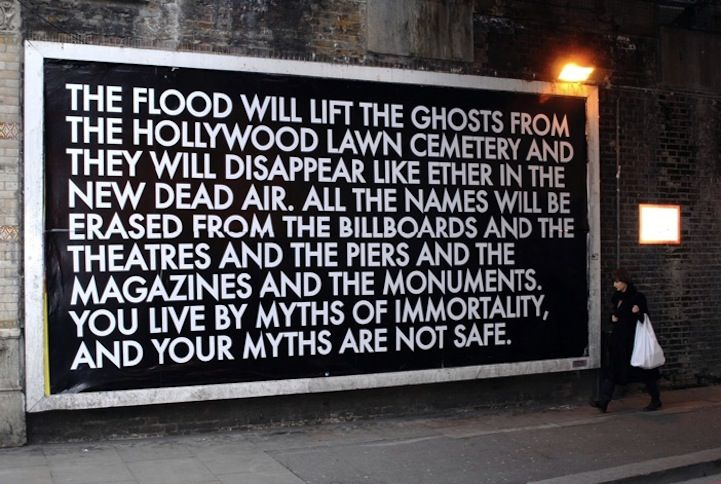 Rather than writing down his thoughts in a notebook, like the average person, Robert Montgomery chooses to take a slightly more unconventional approach. The London-based artist hijacks large billboards and back-lit bus stops to share urban poetry with the world around him. Montgomery also builds his own illuminated signs.