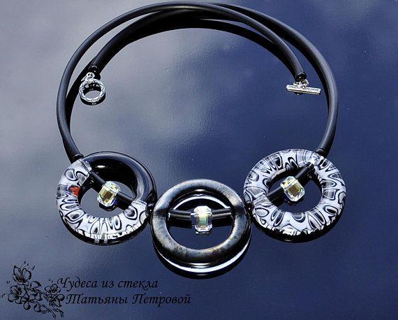 black, white, Murano glass, choker, necklace, round, Swarovski crystals, fused glass, glass,  geometry, millifiori, Beads, gift, glass beads