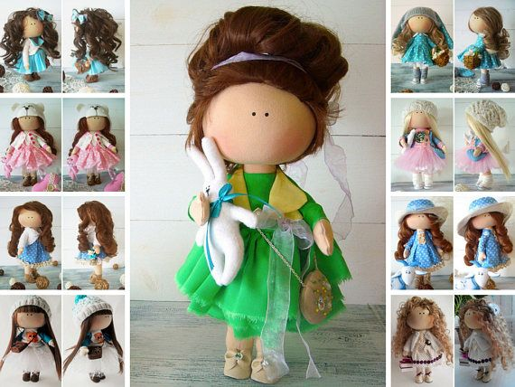 Fabric doll Cloth doll Muñecas Baby doll Textile doll Tilda doll Green doll Soft doll Collection doll Rag doll Handmade doll by Olga Gn