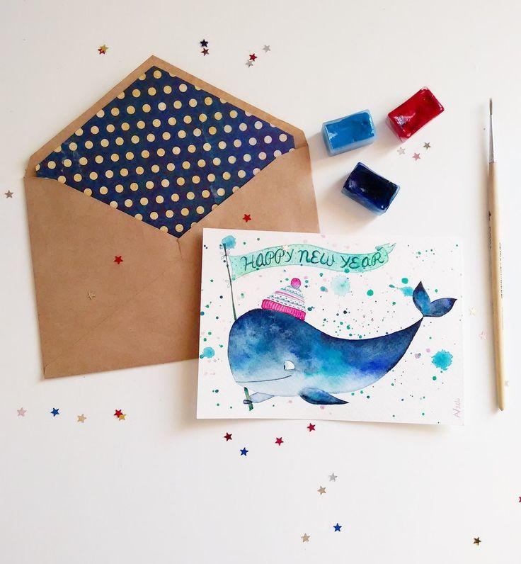 Года, открытка своими руками рисунок акварелью