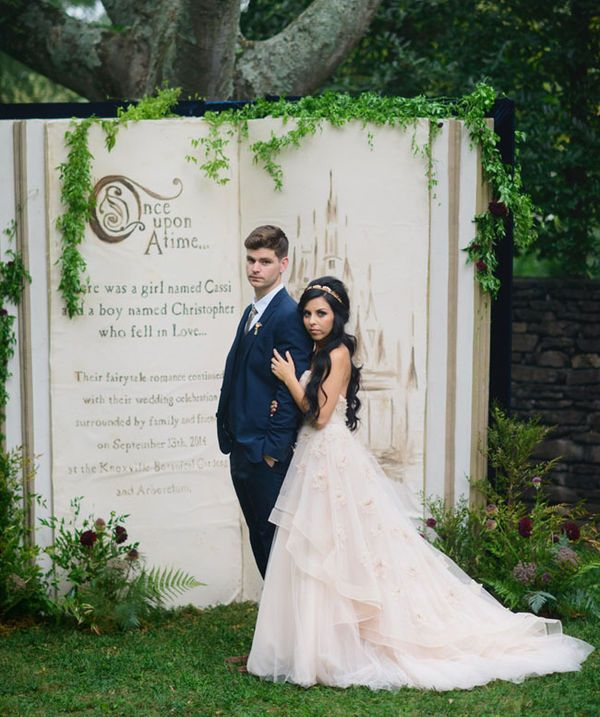 10 Unique Statement Walls for Your Wedding Decor   This is for the couple who are looking to plan a real fairy-tale wedding. Create your own storybook for a truly enchanting wedding backdrop. When he sees you, your Prince Charming will be sure to sweep you off your feet.