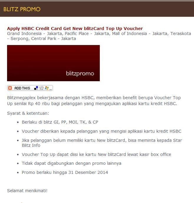 blitzmegaplex: Get Voucher Top up Rp 40 Ribu (HSBC) @blitzmegaplex