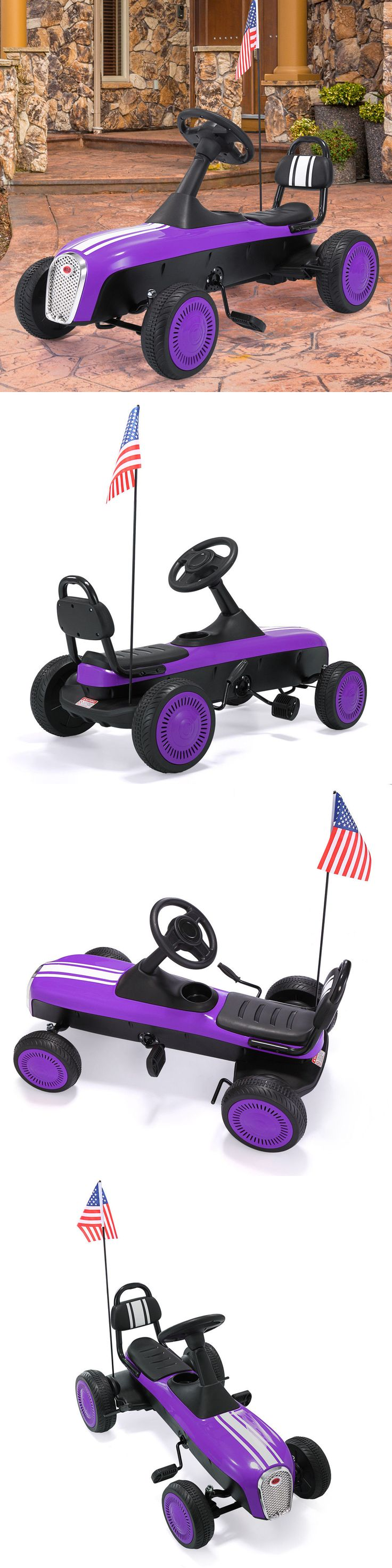 Benches 15281: Go Kart Pedal Powered Bike Kids Ride On 4 Wheels Racer Car Outdoor Purple Toy -> BUY IT NOW ONLY: $55.99 on eBay!