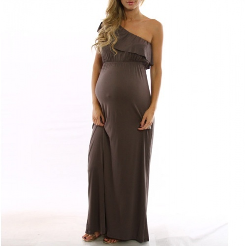 d6c80ccc2dbe2 one shoulder maternity maxi dress | Dress Ideas