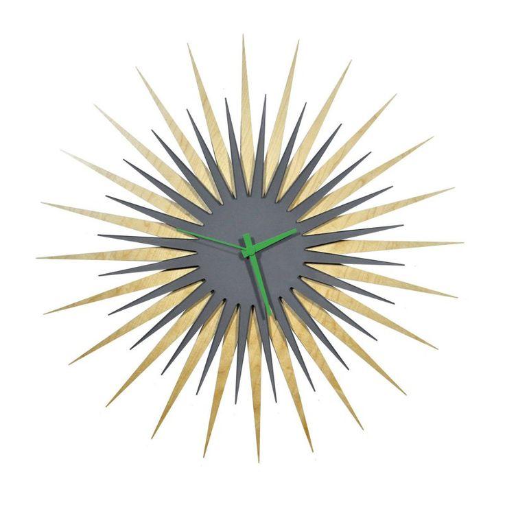 Metal Art Studio RF Maple Gray Atomic Wall Clock - 23 in. Wide Maple Gray/Green - L0185