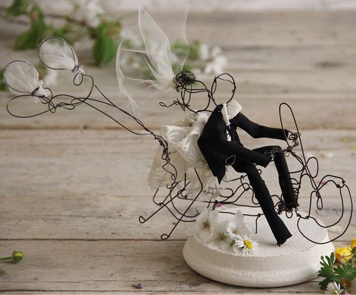 Unique poetic handmade wedding cake toppers Wire & textile