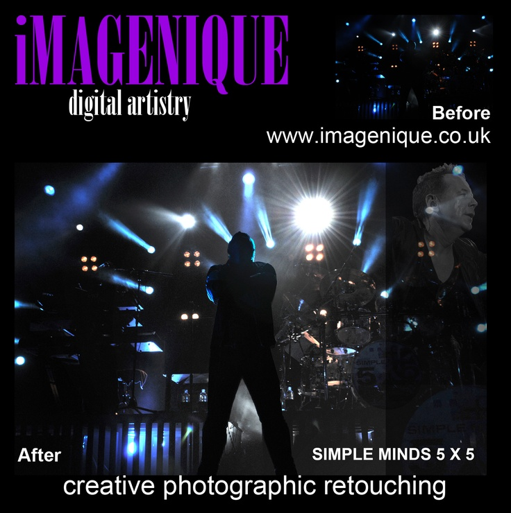 Photographic Retouching. Original photograph was very dark. Overall exposure lightened. Main subject's silhouette brought into sight and made the focal point. Additional details added for interest. Typical prices for exposure improvement and added artistic details £10-£15.00