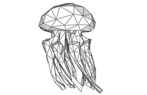 Jellyfish Free Papercraft Download - http://www.papercraftsquare.com/jellyfish-free-papercraft-download.html#Jellyfish, #LowPoly