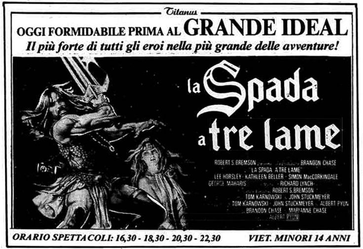 """La spada a tre lame"" (The Sword and the Sorcerer, 1982) di Albert Pyun, con Lee Horsley e Kathleen Beller. Italian release: August 28, 1982 #MoviePosters #FantasyMovies"