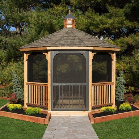 Yardcraft Screen Package For 12 Ft Cedar Octagon Gazebo Backyard Gazebo Patio Gazebo Screened Gazebo