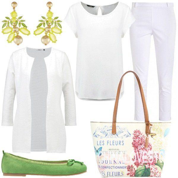 Un+total+look+bianco+composto+dalla+leggera+camicetta+abbinata+ai+pantaloni+capri+ed+il+cardigan+lungo+a+scollo+tondo;+spezzato+dai+colori+della+primavera+che+si+trovano+sulla+borsa+floreale+in+ecopelle,+gli+orecchini+color+limone+e+le+ballerine+in+Greenery+che+Pantone+ci+ha+presentato+come+ultimo+colore+moda.