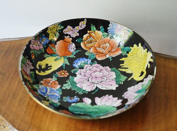 Porcelain Bowl Brass Bowl Brass Encased Bowl by Collectitorium