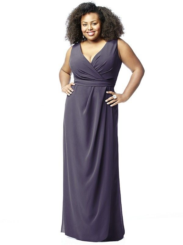 Dessy Lovelie 9009 Bridesmaid Dress.  This sleeveless, full-length Nu-Georgette gown flatters the fuller figure in plus size. The gently draped surplice bodice showcases a soft V-neckline and a high V-back, and displays wide shoulder straps. The draped detailing extends to the waistline and continues on one side of the long flowing skirt.