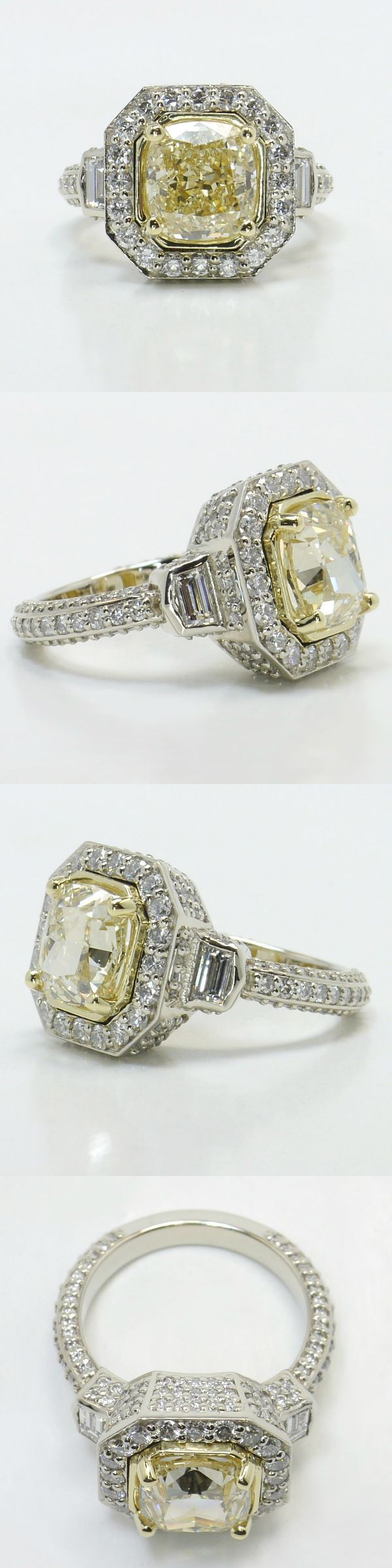 Diamond Encrusted Three Stone Halo Ring! Cushion 3.05 Ctw. Color: W Clarity: VS1 Cut: Excellent Certification: GIA Diamond/Gem Cost: $12,350 Custom Diamond Ring Setting Metal: 18k White Gold with Yellow Gold Inlay Side Shape: Round/Trapezoid Side Carat: 1.55 Side Color: G-H Side Clarity: VS2 Side Cut: Ideal Setting Cost: $3,650 Total Cost: $12,350 www.brilliance.com