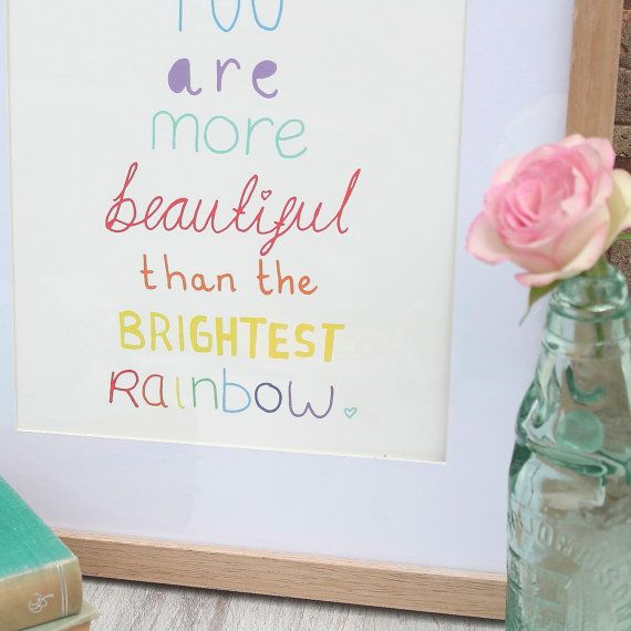A4 You Are More Beautiful Rainbow Print by GingerPickle1 on Etsy