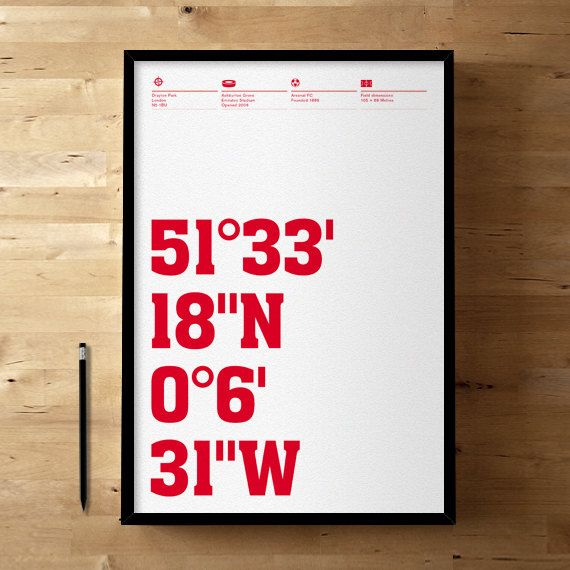 Arsenal FC, Emirates Stadium Coordinates, Football / Soccer Posters and Prints on Etsy, $46.78