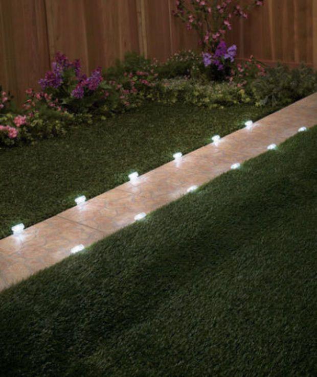 12 Solar Lighted Pathway Markers Walkway Lights Yard Lawn Garden Outdoor Decor